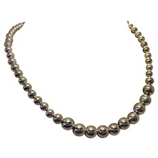 Vintage Sterling Silver Globe Bead Pearl-Strand Style Single Strand Elegant Statement Necklace