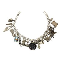Vintage Sterling Silver c. 1940s Art Deco Charm Bracelet with Amazing Novelty Sterling Silver Charms: Airplane, Can of Beans, Intaglio
