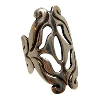 Vintage Sterling Silver Abstract Openwork Ring