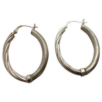 Vintage Sterling Silver Dual-Texture Matte Brushed Silver and Shiny Rope Twist Oblong Hoop Earrings