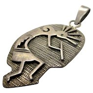 Vintage Sterling Silver Kokopelli Relief Pendant Charm Necklace
