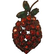 Vintage Signed Warner Strawberry Red and Green Rhinestone Brooch