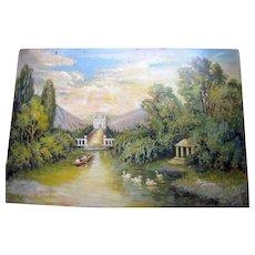 Vintage c. 1920s Impressionist Style Oil on Board Swan Lagoon Royal Gardens Scene Painting