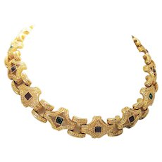 Vintage 1980s Signed Swarovski Jewel Tone Crystal Chunky Gold Tone Choker Necklace Etruscan Style Chanel Inspired Statement Jewelry
