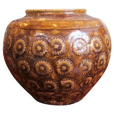 Antique 19th Century Thai Pottery Stamped Floral Motif Vessel With Earthen Brown/Green Glaze