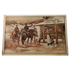 This is an unusual Thanksgiving postcard with hunters and dogs advertisement on back