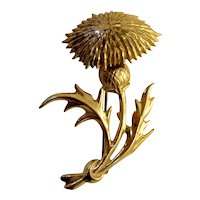 True Vintage 1940s/1950s Gold Wash Sterling Silver Signed Lang Sterling Thistle Stem and Flower Botanical Brooch