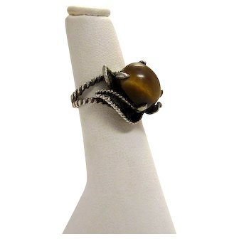 Vintage Sterling Silver and Tiger's Eye Braided Rope and Floral Details Ring