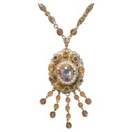 Vintage West German Topaz and Aurora Borealis Rhinestone and Dangling Beads Brass Filigree Pendant Necklace
