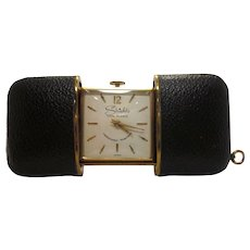 Vintage 1950s 1960s Black Leather and Brass Sliding Purse Watch or Travel Clock Made in Germany for Shields Fifth Avenue