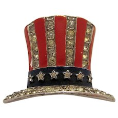 Vintage Early 1940s Crown Trifari Rare Collectible Uncle Sam Hat WWII Era Patriotic Pin Brooch Vintage Collectible Costume Jewelry