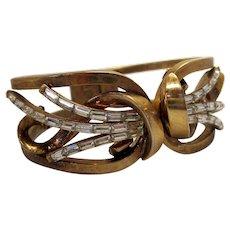 "Vintage 1949 Trifari ""Meteor"" Design Clamper Bracelet Gold Tone Cuff with Clear Baguette Rhinestones Atomic Era Formal Style"