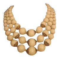 Vintage White Triple Strand Graduating round Bead Necklace