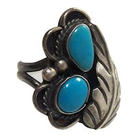 Vintage Native American Sterling Silver Turquoise Floral Feather Boho Statement Ring