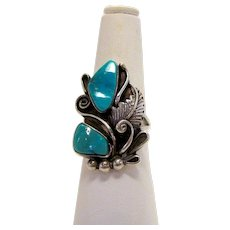 Vintage Sterling Silver Native American  Turquoise Statement Ring with Feather and Fern Leaf Fiddlehead Detail