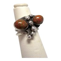 Vintage Midcentury Modernist Sterling Silver and Unakite Red and Green-veined Jasper Boomerang 3 Band Statement Ring