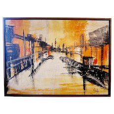 Mid-Century Modern Signed Van Hoople Modernist Industrial Abstract Landscape Impasto Style Oil on Canvas Painting