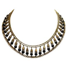 Vintage Victorian-Inspired Miriam Haskell Style Black Bead and Rondelle Rhinestone Gold Tone Choker Collar Necklace