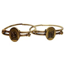 Antique 1870s Victorian Engagement and Wedding Marriage Bypass Bracelets Gold Fill with Relief of Squirrel with Acorn