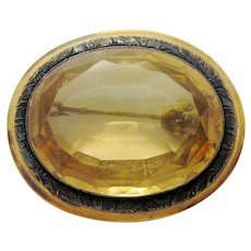 Spectacular Dazzling Antique Victorian Faceted Citrine and 10k Gold Brooch Pin with Botanical Leaf Motif Border