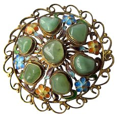 Vintage Chinese Sterling Gold Vermeil Green Apple Jade Enamel Work Filigree Pin Brooch with Floral Detail and Stunning Movement