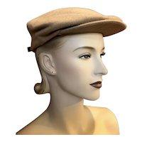 Vintage Tan Wool Stetson Newsboy Hat