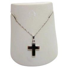 Simple Elegant Religious Christian 14K White Gold Cross Pendant Necklace Winter Christmas Gift Jewelry