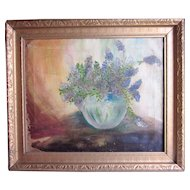 Framed Antique Late 19th Century Oil on Canvas Painting Simple Rustic Still Life Bouquet of Lilacs or Wisteria in Blue Ceramic Vase
