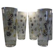Mid Century Modern Black and Gold starburst snowflake drinkware and barware glassware set of six