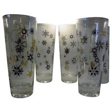 Mid Century Modern Black and Gold starburst snowflake drinkware and barware glassware set of six Christmas glassware