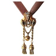 Grand 14k Gold Russian Rose Cut Diamond 19th Century Pendant, Tassels!