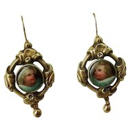 Adorable Porcelain Cherub Earrings, Circa 1850
