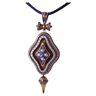 Large Victorian Etruscan Revival Locket Blue Enamel Pearls, 14-15K Gold