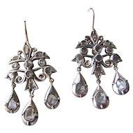 Rose cut and table cut Diamond girandole Earrings Silver Topped Gold georgian Revival