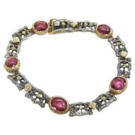 Unique Victorian Renaissance Revival Pink Sapphire Gold and Silver Bracelet  Appraisal included