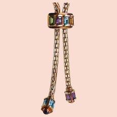Vintage Revival 14K Gold Mesh Slide Bolo Chain Citrine Amethyst Peridot