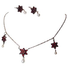 Victorian Garnet Star Necklace and Earrings!
