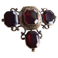 Early Victorian 14k Gold Garnet Brooch