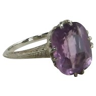 18k White Gold Amethyst Ring with Basket Setting 1920s