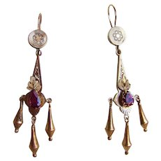 Victorian Day Night Gold Fringed Earrings Purple Stones