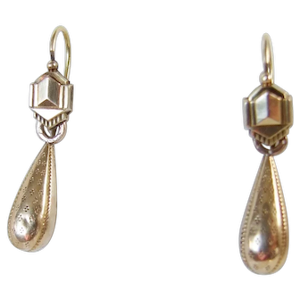 Victorian French Oria 9 Gold Filled Earrings with Drops