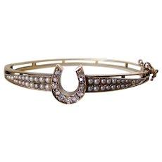Antique Edwardian Diamond Horseshoe Bracelet with split Pearls 14k