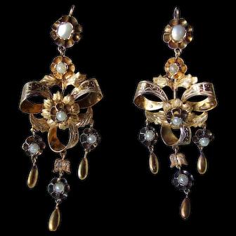 Huge Victorian Bow Motif Chandelier Earrings with Faux pearls