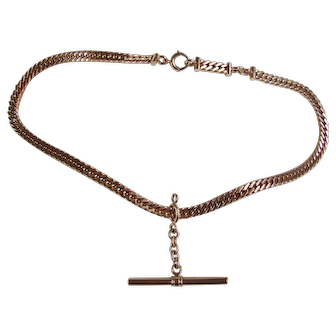 """Bold Link Edwardian Watch Chain Necklace Gold Filled 15"""""""