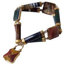 Spectacular 9K Scottish Agate Bracelet with Padlock, Larger Size!