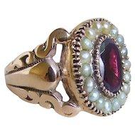Victorian Gold Garnet Pearl Cigar Band Ring size 7.25