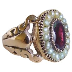 Victorian Gold Garnet Pearl Cigar Band Ring size 7.25
