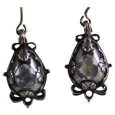 18th Century Georgian Rock Crystal Drop Earrings with Domed Embossed Settings, Rare!