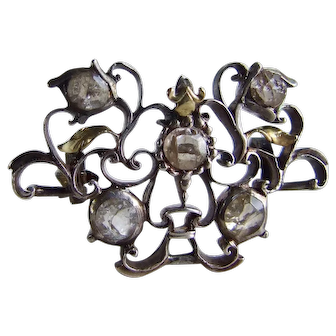 18th Century Georgian Crystal Brooch with Unusual Reverse Settings!