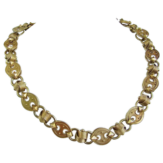 Impressive Etruscan Revival Book Chain Necklace 47 grams 14k Gold!